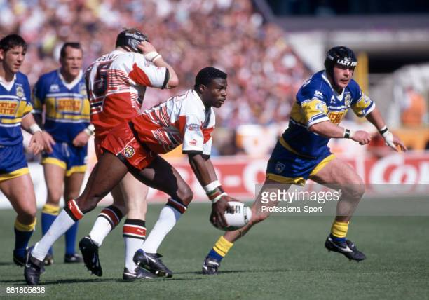 Martin Offiah of Wigan in action against Leeds during the Silk Cut Rugby League Challenge Cup final at Wembley Stadium in London on 30th April 1994...