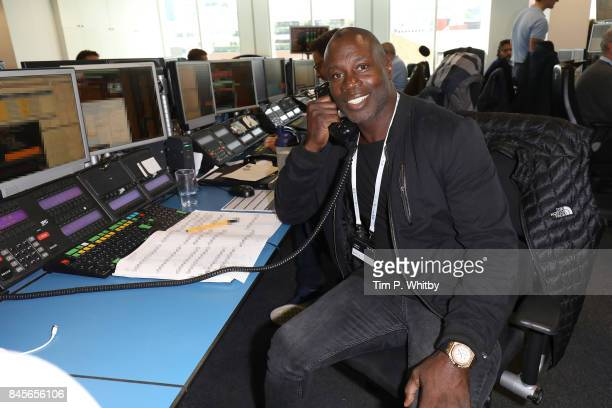 Martin Offiah representing DuchenneÊmakes a trade at GFI Charity Day 2017 on September 11 2017 in London England