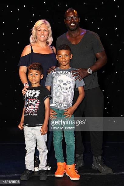 Martin Offiah Viginia Shaw Tyler and Phoenix attend the first performance of Aliens Love Underpants at the Leicester Square Theatre on July 20 2014...