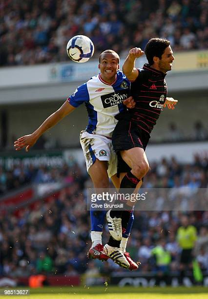 Martin Olsson of Blackburn Rovers and Mikel Arteta of Everton go up for a header during the Barclays Premier League match between Blackburn Rovers...