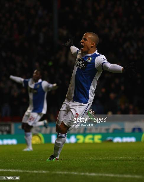 Martin Olsson of Blackburn Rovers celebrates after scoring the first goal during the Barclays Premier League match between Blackburn Rovers and...