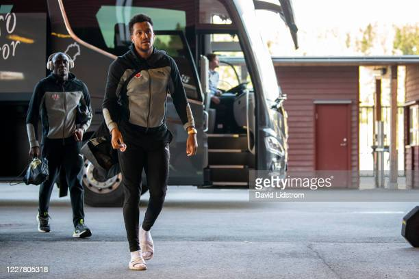 Martin Olsson of Helsingborgs IF arrives to the stadium ahead of the Allsvenskan match between Ostersunds FK and Helsingborgs IF at Jamtkraft Arena...