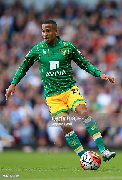 Martin Olsson of Norwich City during the Barclays Premier League match between West Ham United and Norwich City at the Boleyn Ground on September 26...