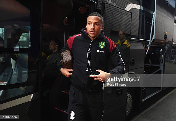 Martin Olsson of Norwich City is seen on arrival prior to the Barclays Premier League match between West Bromwich Albion and Norwich City at The...