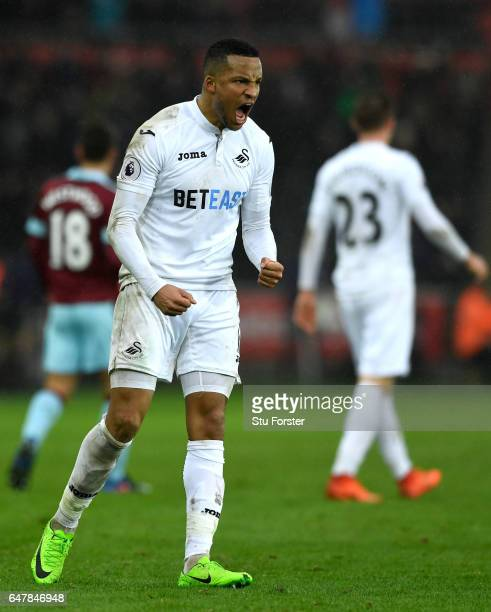 Martin Olsson of Swansea City celebrates after the Premier League match between Swansea City and Burnley at Liberty Stadium on March 4 2017 in...