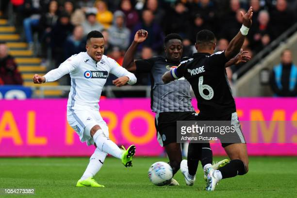 Martin Olsson of Swansea City has a shot during the Sky Bet Championship match between Swansea City and Reading at the Liberty Stadium on October 27...