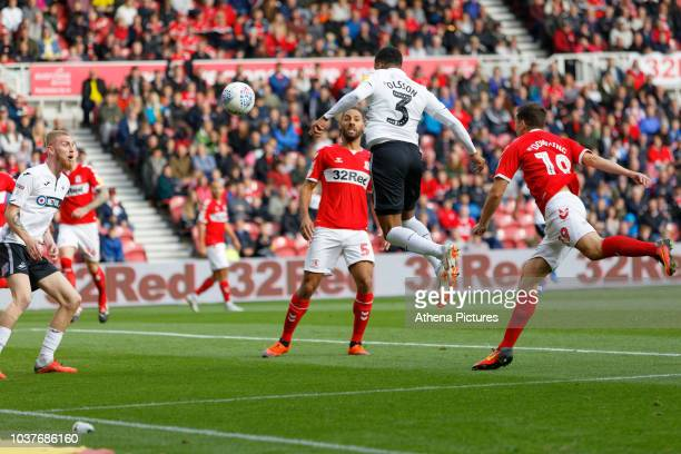 Martin Olsson of Swansea City heads the ball forward during the Sky Bet Championship match between Middlesbrough and Swansea City at the Riverside...