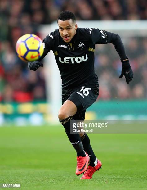 Martin Olsson of Swansea City in action during the Premier League match between Stoke City and Swansea City at Bet365 Stadium on December 2 2017 in...
