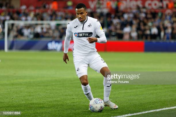 Martin Olsson of Swansea City in action during the Sky Bet Championship match between Swansea City and Leeds United at the Liberty Stadium on August...