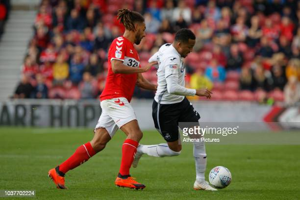 Martin Olsson of Swansea City is fouled by Ryan Shotton of Middlesbrough during the Sky Bet Championship match between Middlesbrough and Swansea City...