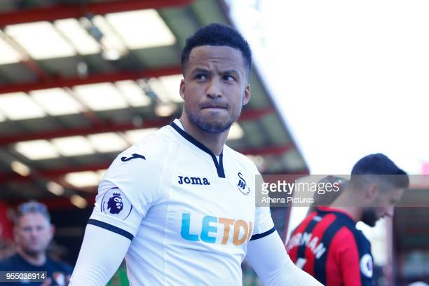 Martin Olsson of Swansea City prior to kick off of the Premier League match between AFC Bournemouth and Swansea City at Vitality Stadium on May 5...
