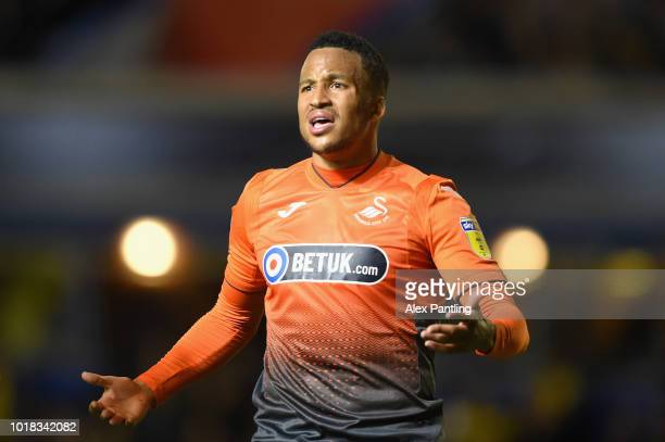 Martin Olsson of Swansea City shows his frustration during the Sky Bet Championship match between Birmingham City and Swansea City at St Andrew's...
