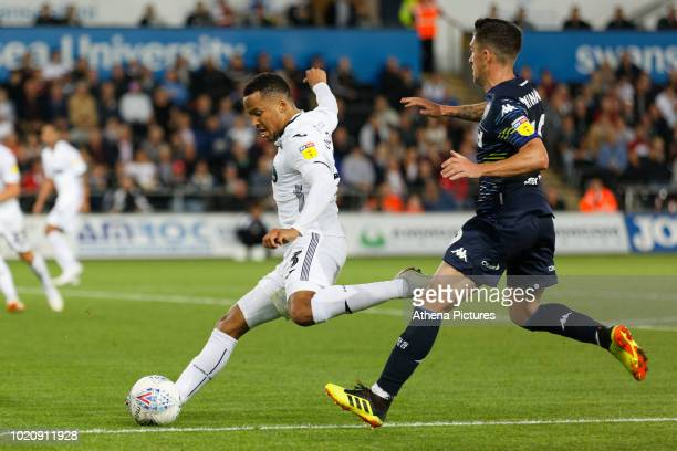 Martin Olsson of Swansea City takes a cross during the Sky Bet Championship match between Swansea City and Leeds United at the Liberty Stadium on...