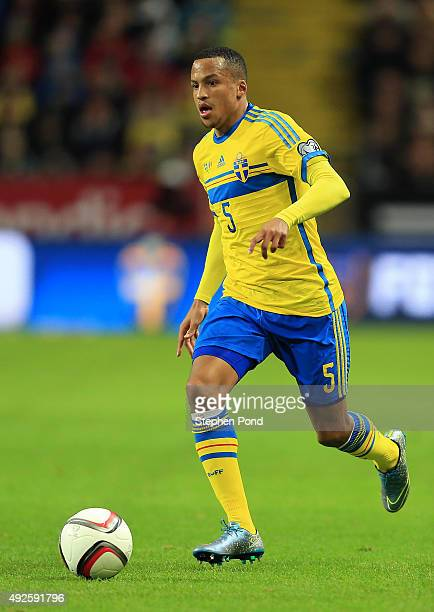 Martin Olsson of Sweden during the UEFA EURO 2016 Qualifying match between Sweden and Moldova at the National Stadium Friends Arena on October 12...