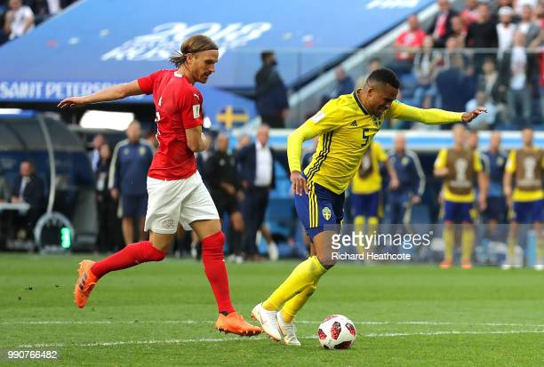 Martin Olsson of Sweden is fouled by Michael Lang of Switzerland just outside the peanlty area during the 2018 FIFA World Cup Russia Round of 16...