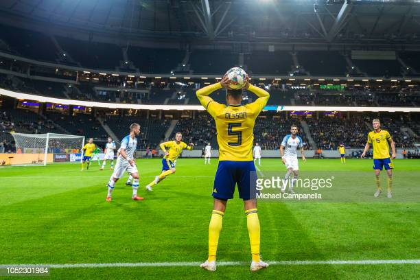 Martin Olsson of Sweden takes a throw in during the International Friendly match between Sweden and Slovakia at Friends Arena on October 16 2018 in...
