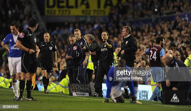 Martin O'Neil of Aston Villa shows his displeasure after Carlos Cuellar is sent off during the Barclays Premier League match between Everton and...