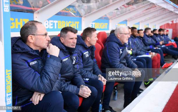 Martin O'Neill and Roy Keane of Nottingham Forest look on prior to the Sky Bet Championship match between Nottingham Forest and Brentford at City...