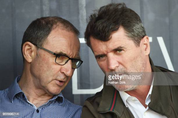 Martin O'Neill first team manager of Republic of Ireland and his assistant Roy Keane look on during the UEFA European Under17 Championship match...