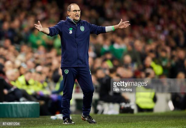 Martin O'Neill head coach of Republic of Ireland shows frustration during the FIFA 2018 World Cup Qualifier PlayOff Second Leg match between Republic...