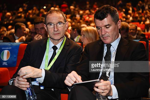 Martin O'Neill Manager and assistant coach Roy Kean of Republic of Ireland are seen prior to the UEFA Euro 2016 Final Draw Ceremony at Palais des...