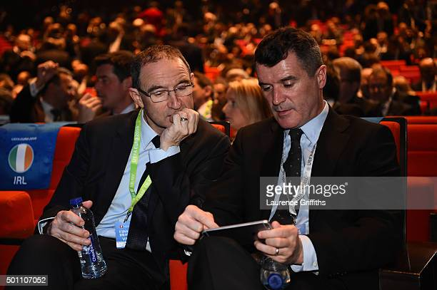 Martin O'Neill Manager and Roy Keane assistant manager of Republic of Ireland are seen during the UEFA Euro 2016 Final Draw Ceremony at Palais des...