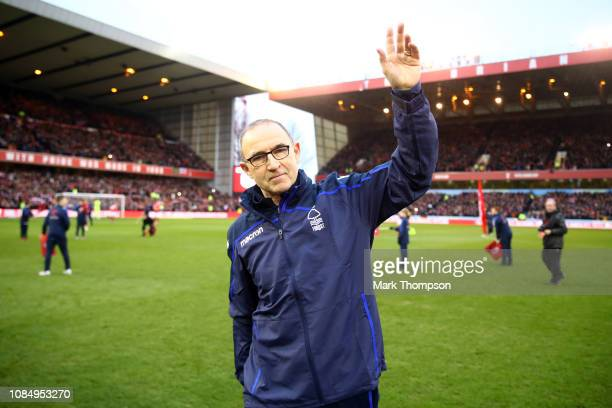 Martin O'Neill manager of Nottingham Forest acknowledges the fans prior to the Sky Bet Championship match between Nottingham Forest and Bristol City...