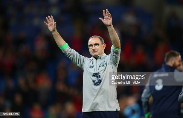Martin O'Neill manager of Republic of Ireland celebrates after the FIFA 2018 World Cup Qualifier between Wales and Republic of Ireland at Cardiff...