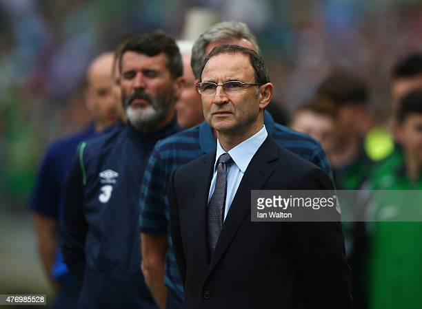 Martin O'Neill manager of Republic of Ireland looks on with assistant Roy Keane during the UEFA EURO 2016 Qualifier Group D match between Republic of...