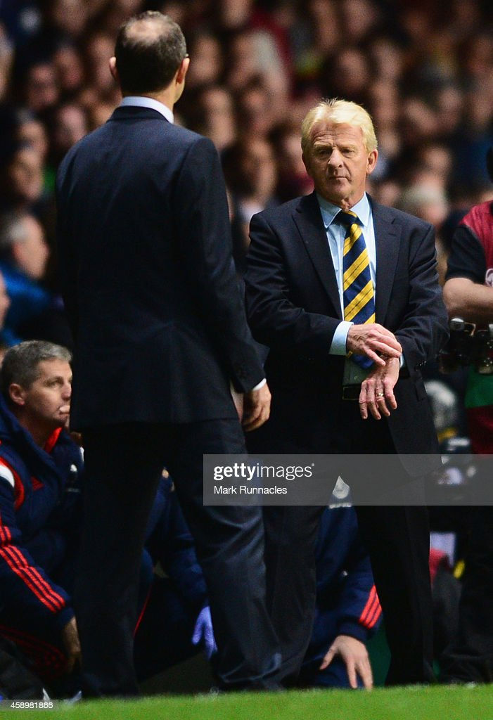 Martin O'Neill manager of the Republic of Ireland and Gordon Strachan manager of Scotland look on during the EURO 2016 Group D Qualifier match between Scotland and Republic of Ireland at Celtic Park on November 14, 2014 in Glasgow, Scotland.