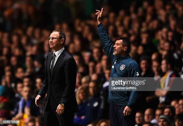 Martin O'Neill manager of the Republic of Ireland and Roy Keane assistant manager of the Republic of Ireland look on from the touchline the EURO 2016...