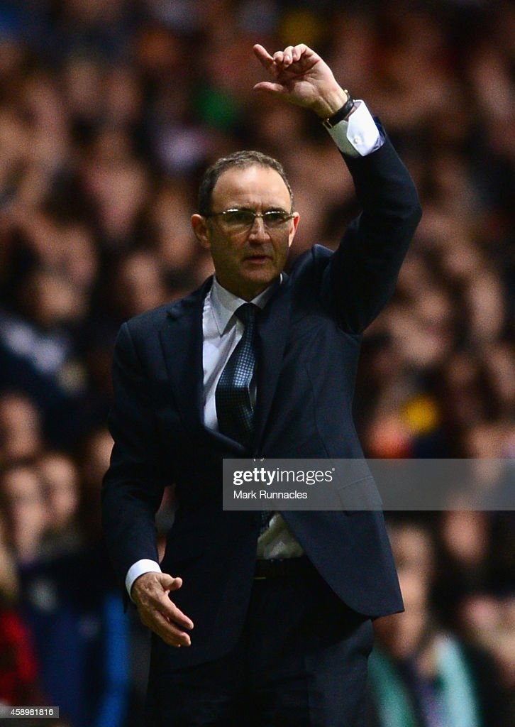 Martin O'Neill manager of the Republic of Ireland appeals during the EURO 2016 Group D Qualifier match between Scotland and Republic of Ireland at Celtic Park on November 14, 2014 in Glasgow, Scotland.