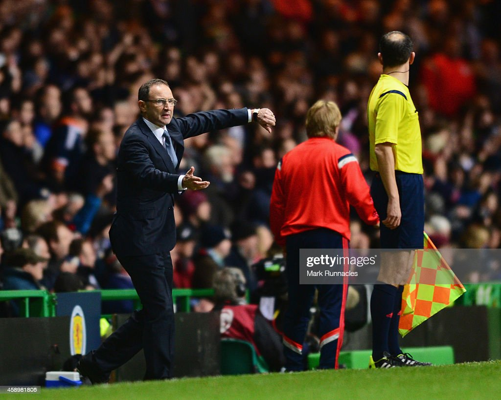 Martin O'Neill manager of the Republic of Ireland appeals to the assistant referee during the EURO 2016 Group D Qualifier match between Scotland and Republic of Ireland at Celtic Park on November 14, 2014 in Glasgow, Scotland.