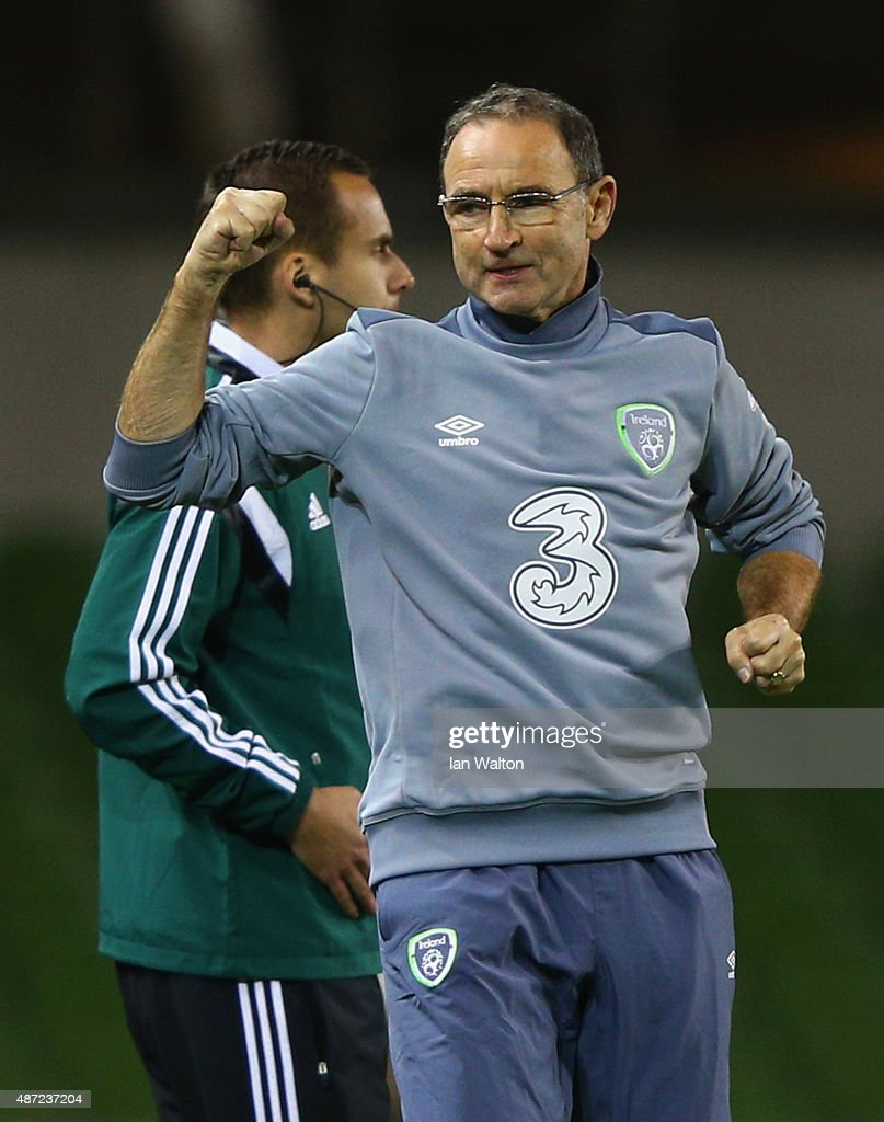 Martin O'Neill manager of the Republic of Ireland celebrates victory after the UEFA EURO 2016 Group D qualifying match between Republic of Ireland and Georgia at Aviva Stadium on September 7, 2015 in Dublin, Ireland.