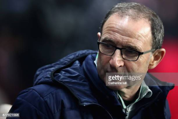 Martin O'Neill Manager of The Republic of Ireland looks on during the FIFA 2018 World Cup Qualifier PlayOff First Leg between Denmark and Republic of...