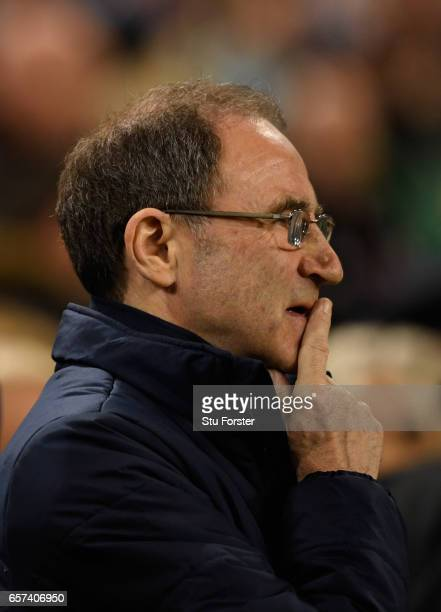 Martin O'Neill manager of the Republic of Ireland looks on prior to the FIFA 2018 World Cup Qualifier between Republic of Ireland and Wales at Aviva...
