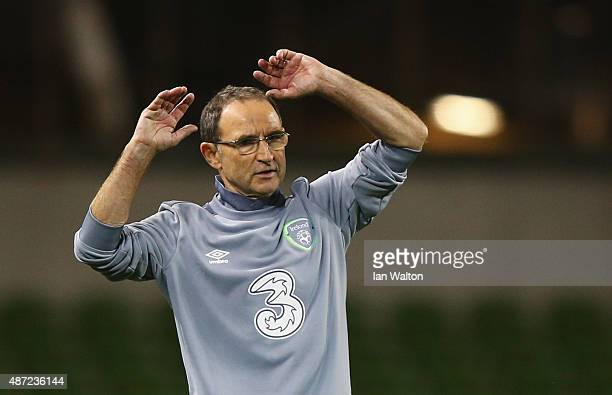 Martin O'Neill manager of the Republic of Ireland reacts during the UEFA EURO 2016 Group D qualifying match between Republic of Ireland and Georgia...