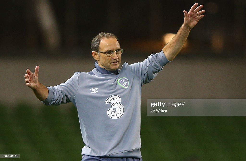 Martin O'Neill manager of the Republic of Ireland reacts during the UEFA EURO 2016 Group D qualifying match between Republic of Ireland and Georgia at Aviva Stadium on September 7, 2015 in Dublin, Ireland.