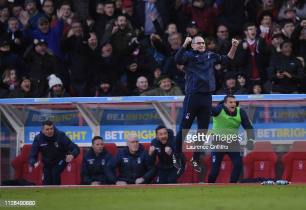 Martin O'Neill of Nottingham Forest jumps in celebration as Molla Wague scores the second goal during the Sky Bet Championship match between...