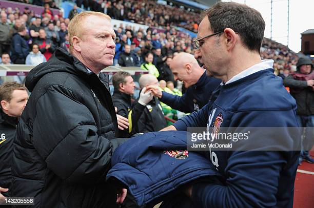 Martin O'Neill of Sunderland shakes hands with Alex MCleish of Aston Villa during the Barclays Premier League match between Aston Villa and...