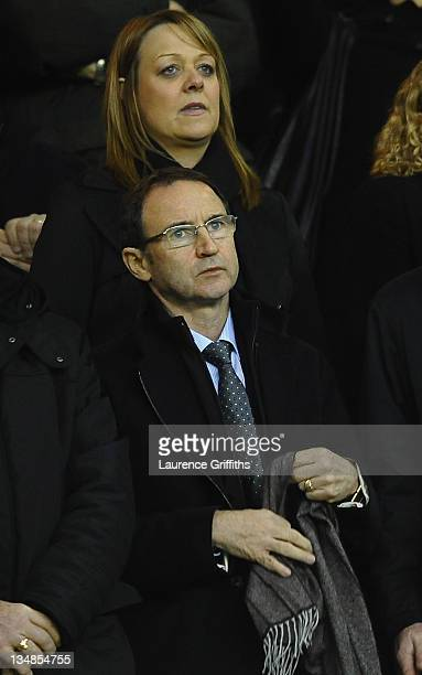 Martin O'Neill of Sunderland takes his seat in the stands during the Barclays Premier League match between Wolverhampton Wanderers and Sunderland at...