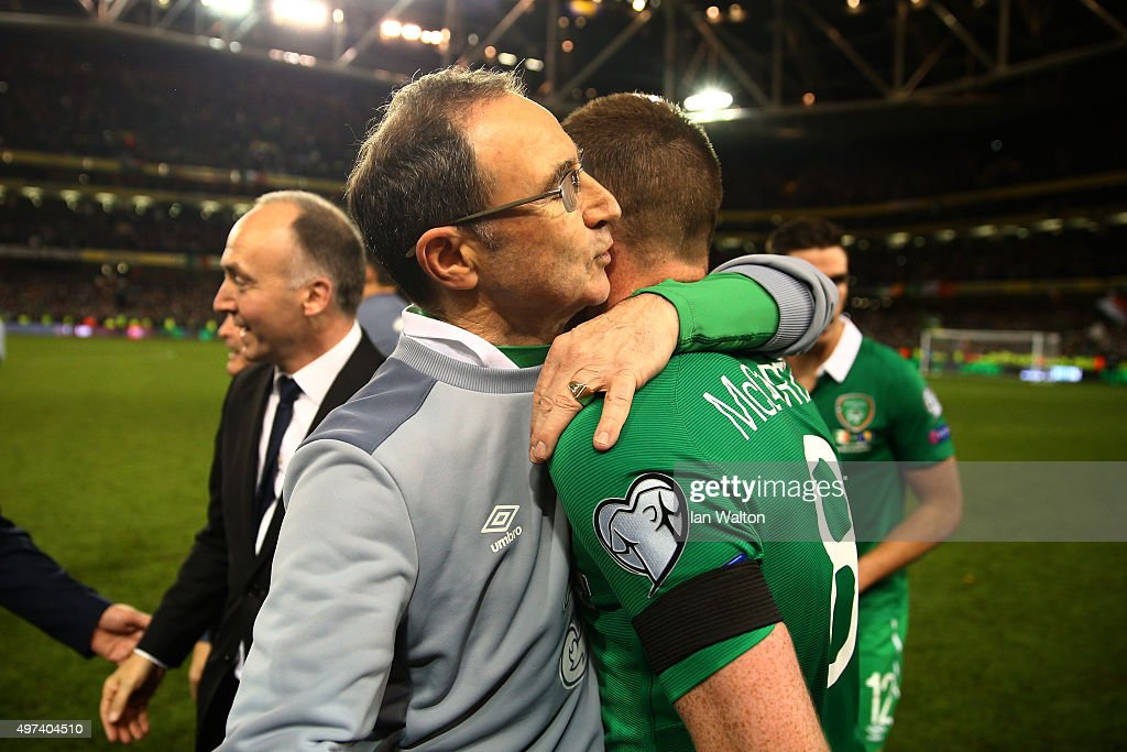 Martin O'Neill the manager of the Republic of Ireland celebrates with James McCarthy of the Republic of Ireland following their team's 2-0 victory and qualification during the UEFA EURO 2016 Qualifier play off, second leg match between Republic of Ireland and Bosnia and Herzegovina at the Aviva Stadium on November 16, 2015 in Dublin, Ireland.