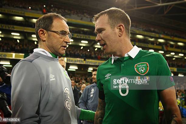 Martin O'Neill the manager of the Republic of Ireland celebrates with Glenn Whelan of the Republic of Ireland following their team's 20 victory and...