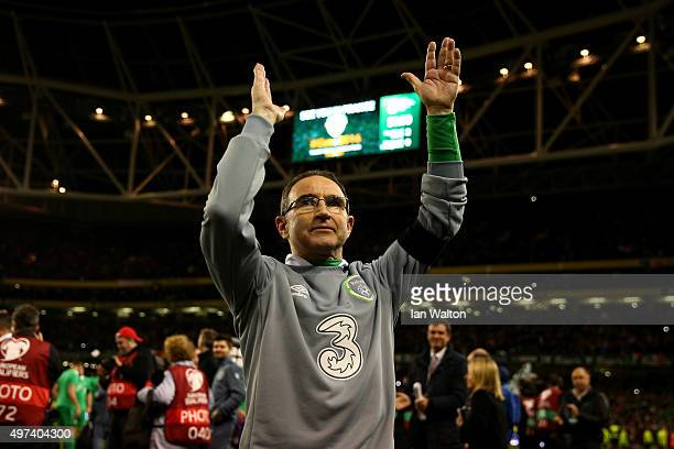 Martin O'Neill the manager of the Republic of Ireland manager celebrates following his team's 2-0 victory and qualification during the UEFA EURO 2016...