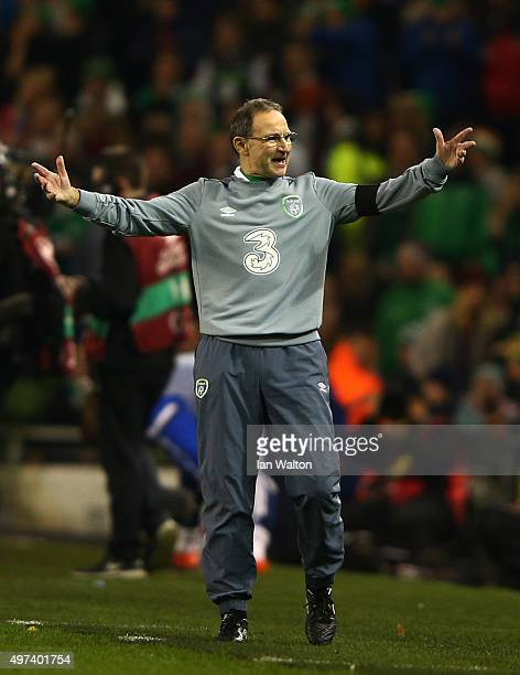 Martin O'Neill the manager of the Republic of Ireland reacts during the UEFA EURO 2016 Qualifier play off second leg match between Republic of...