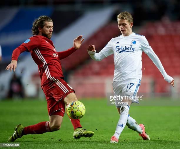 Martin Ornskov of Lyngby BK and Kasper Kusk of FC Copenhagen compete for the ball during the Danish Alka Superliga match between FC Copenhagen and...