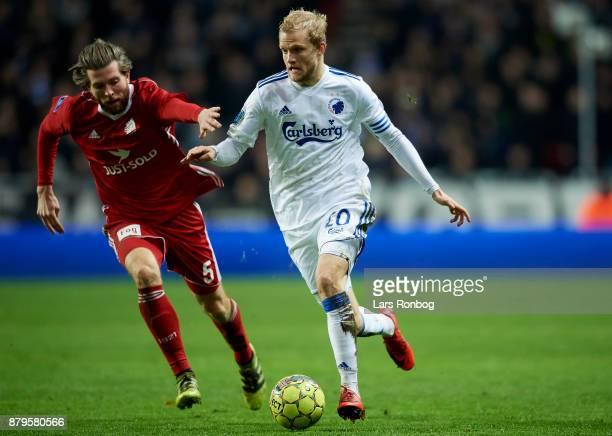 Martin Ornskov of Lyngby BK and Nicolai Boilesen of FC Copenhagen compete for the ball during the Danish Alka Superliga match between FC Copenhagen...