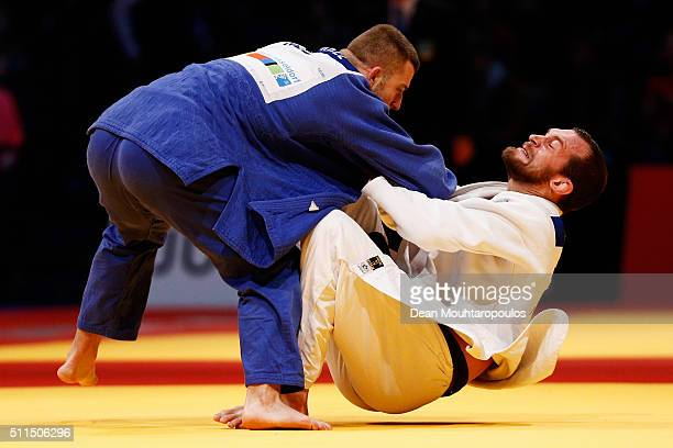 Martin Pacek of Sweden and Michael Korrel of the Netherlands compete during the Dusseldorf Judo Grand Prix in their Mens 100kg bout held at...