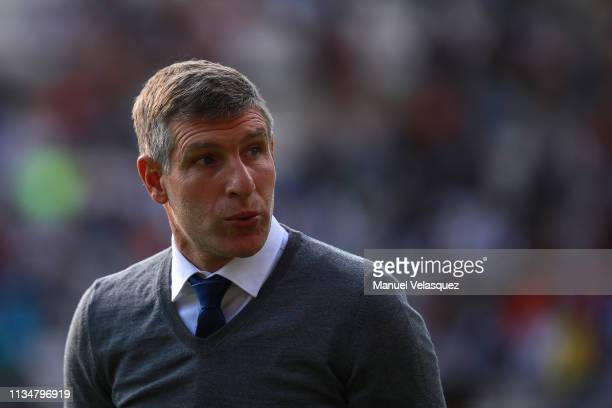 Martin Palermo coach of Pachuca gestures during a 10th round match between Pachuca and Tijuana as part of Torneo Clausura 2019 Liga MX at Hidalgo...