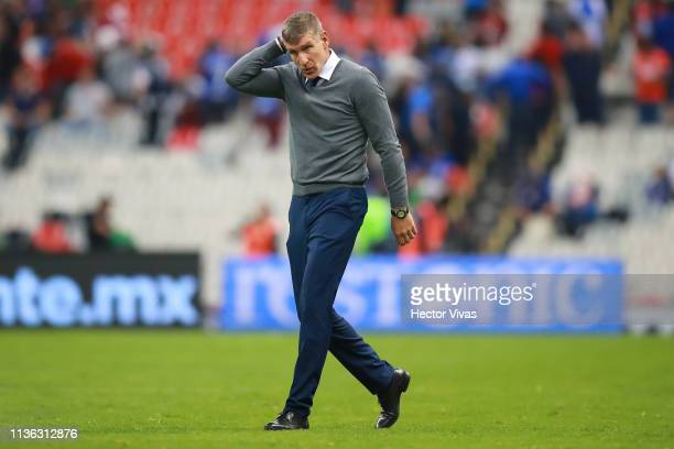 Martin Palermo coach of Pachuca gestures during the 11th round match between Cruz Azul and Pachuca as part of the Torneo Clausura 2019 Liga MX at...